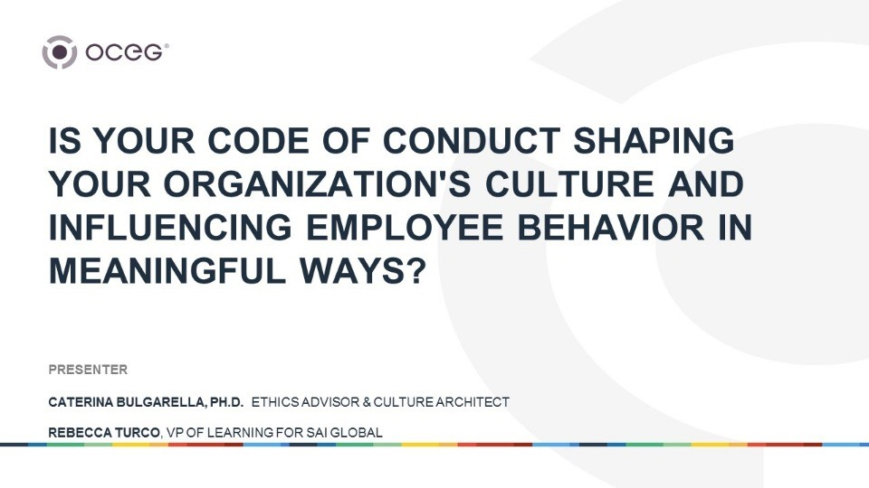 Is Your Code of Conduct Shaping Your Organization's Culture and